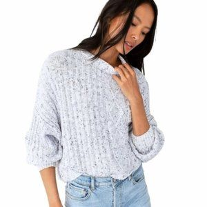 NEW Free People Blue Marled Oversized Knit Crop Dolman Sweater LARGE $98